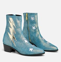 Holiday bolt - teal sparkle leather / us: Thick Heel Boots, Thick Heels, Low Heels, Heeled Boots, Funky Shoes, Crazy Shoes, Flat Shoes, Me Too Shoes, 70s Fashion