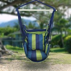 Get the Sorbus Blue Hanging Rope Hammock Chair Swing Seat. This stylish hammock swing hangs anywhere and is easy to relocate. Hammock is paired with back support and two seat cushions. Rope Hammock, Indoor Hammock, Hanging Hammock Chair, Hammock Swing Chair, Rope Swing, Swing Seat, Hanging Rope, Swinging Chair, Hanging Chairs