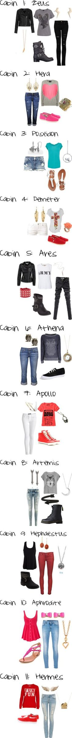 Camp Half-Blood cabins and coordinating outfits Percy Jackson Percy Jackson Serie, Percy Jackson Books, Percy Jackson Fandom, Hunger Games, Camp Half Blood Cabins, Percy Jackson Outfits, Percy Jackson Clothes, Rick Riordan, Tio Rick
