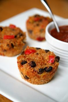Mexican Quinoa Bites With Salsa: Enjoy four of these quinoa and black bean bites with one-quarter of an avocado and two tablespoons of mild salsa.