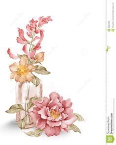 watercolor-illustration-flower-set-simple-white-background-50837265.jpg (1035×1300)