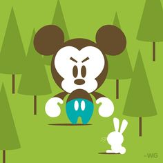Angry Mickey is nice to all animals. Happy Earth Day by Will Gay