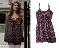 Lydia Martin (Holland Roden) wears this purple chevron print zip front dress in this episode of Teen Wolf. It is the Xhilaration [...]