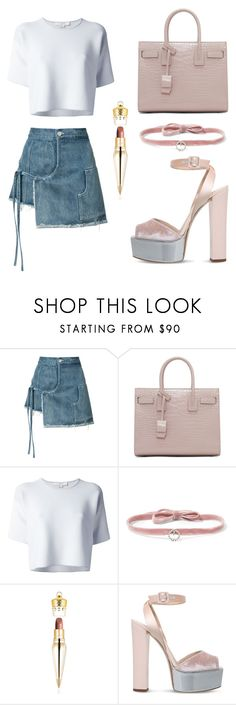 """Untitled #311"" by cxndai ❤ liked on Polyvore featuring Sandy Liang, Yves Saint Laurent, Alexander Wang, DANNIJO, Christian Louboutin and Giuseppe Zanotti"