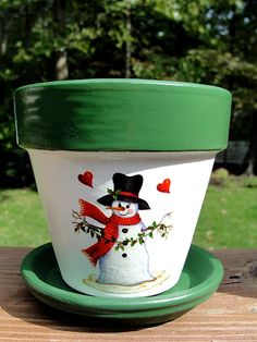 Christmas Flower Pot... hand-painted Christmas Snowman flower pot