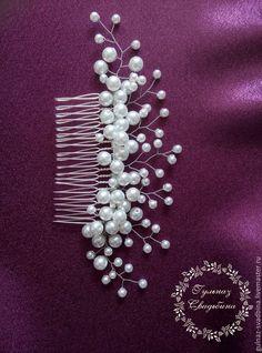 Купить Гребень свадебный - белый, свадебные аксессуары, свадебное украшение, свадебный гребень, гребень для волос