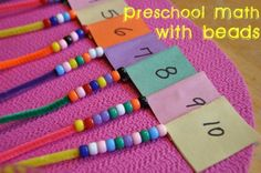 preschool math with beads - Great activities for number recognition, counting, and fine motor skills Preschool Classroom, Preschool Learning, Kindergarten Math, Preschool Activities, Activities For 4 Year Olds, Number Activities, Learning Games, Educational Activities, Math Games