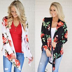 Fashion Womens Long Sleeve Floral Autumn Casual Irregular Coat Cardigan Outwear