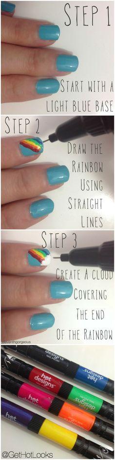 Check out this super easy rainbow nail art using Nail Art Pens! Fingernail Designs, Nail Polish Designs, Nail Art Designs, Creative Nail Designs, Creative Nails, Tutorial Nails, Rainbow Nail Art, Tree Nails, Nail Art Pen