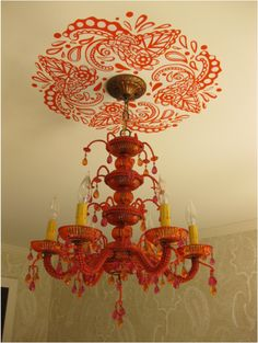 chandelier with custom layered paisley stencil by LULU Painting