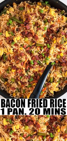 Fried Rice Recipe (One Pot) BACON FRIED RICE RECIPE- Quick and easy, homemade with simple ingredients in one pot or pan over stovetop. Loaded with crispy bacon, scrambled eggs, frozen vegetables. This 30 minute meal is better than Chinese takeout. Bacon Fried Rice Recipe, Homemade Fried Rice, Fried Rice With Egg, Fried Rice Recipes, Fried Rice Recipe Chinese, Easy Vegetable Recipes, Side Dish Recipes, Vegetable Dish, Weight Watchers Desserts