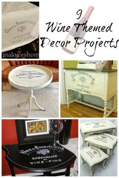 Wine inspired decor is so popular and perfect for almost any home. I'm sharing 9 wine themed decor projects made using graphics from The Graphics Fairy. Wine Themed Decor, Wine Decor, Furniture Makeover, Diy Furniture, Painted Furniture, Furniture Projects, Wine Signs, Homemade Cleaning Products, Cleaners Homemade