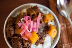 Spicy Coffee-braised Beef with Pink Pickled Onions
