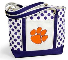 Be game day ready with this Clemson Tigers Polka Dot Tote- get it today at www.totallycollegiate.com for $26