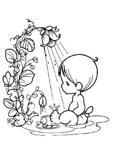 Little Boy And Flower Shower