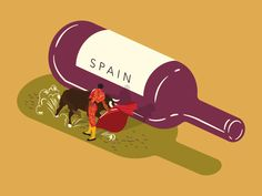 Wine Illustration - Spain by Amy Hood Gfx Design, Design Art, Wine Pics, Wine Brands, Wine Design, Wine Art, Decorating With Pictures, Nature Quotes, Graphic