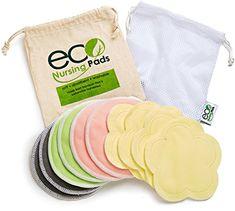 Washable Reusable Nursing Pads (10 Pack) + Bonus | Ultra-Soft Velvet Flower Pads for Day | Organic Bamboo Round Breastfeeding Pads for Night | Multi-Pack