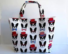 Women's Handbag, Tote Bag, Handmade Bag, Contains Pocket & Magnetic Button Closure, French Bulldog Tote, Boston Terrier Tote, Frenchie Bags