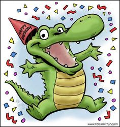 Today on the board - Birthday Gator! Here's the third in the Happy Birthday card series for Swampy's Florida. Happy Birthday Greetings, Birthday Wishes, Alligator Birthday, See You Later Alligator, Birthday Clips, Louisiana Art, Diy For Kids, Congratulations, Card Making