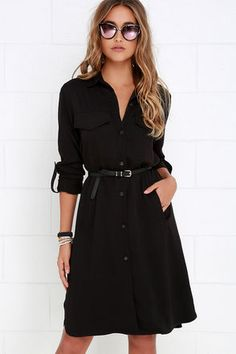 Be known for always styling the best of the best when you have the Chic Repertoire Black Shirt Dress! Cute and classic medium-weight woven shift dress doubles as a lightweight jacket, boasting a collared neckline, and long sleeves with button tabs. Patch pockets frame the full-length button placket above vertical welted pockets and a notched hem. Belt not included.