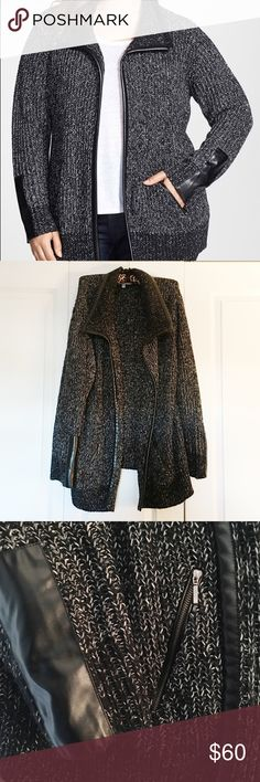 Sejour Faux Leather Trim Open Front Knit Jacket Sejour Faux Leather Trim open front knot jacket is super cozy, and trimmed with high-shine Faux Leather at front placket, point collar and extended cuffs. Angled front zip pockets! Only worn ONCE!! Sejour Jackets & Coats Utility Jackets