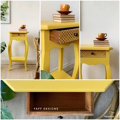 Yellow Side Table, Painted Furniture For Sale, Patterned Furniture, Telephone Table, Dixie Belle Paint, Lamp Table, Wooden Crafts, Drawer Fronts, Bright Yellow