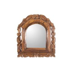 NOVICA Guatemalan Colonial Style Carved Wood Wall Mirror (1,590 ILS) ❤ liked on Polyvore featuring home, home decor, mirrors, brown, wall decor, wooden wall mirrors, ornate wall mirror, novica home decor, wood home decor and wooden mirror