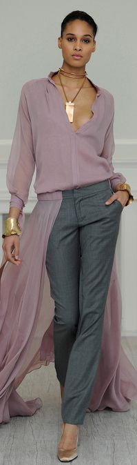 violet shirt with gray dress pants    frida savy via BuyerSelect onto style that I would like to try