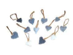 Denim Heart Ornaments  Set of 12  by BlueBarnHillCraftsIn on Etsy, $24.95
