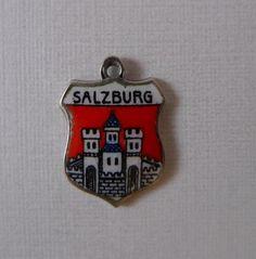 Vintage 835 Silver & Enamel SALZBURG Austria Travel Shield Charm