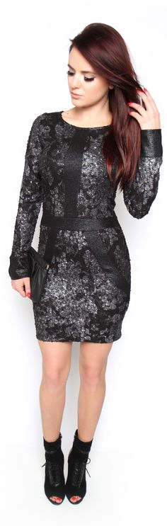 Think of sequins discretely embellished over metallic lace, then think of all that on a bodycon fit and you have the ultimate standout. Complemented by edgy cuffs for additional allure - 98% polyester