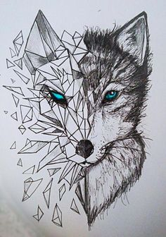 Discover thousands of images about nice Geometric Tattoo - geometric wolf tattoos: Yandex. Geometric Wolf Tattoo, Geometric Art, Tattoo Abstract, Geometric Animal, Geometric Sleeve, Geometric Drawing, Animal Drawings, Cool Drawings, Beautiful Drawings
