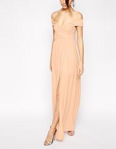 Enlarge ASOS PETITE Bardot Ruched Maxi Dress