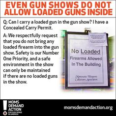 Who would have thought gun shows would be safer than your local coffee shop?! If you want to do something to change this please sign and share our petition http://momsdemandaction.nationbuilder.com/sb2013