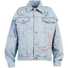 Anouki Moon And Star Denim Jacket ($1,040) ❤ liked on Polyvore featuring outerwear, jackets, blue, denim jackets, jean jacket, star jacket, blue jackets and blue jean jacket