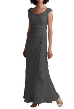 LOVEBEAUTY® Round Collar Sleeveless Chiffon Flower Long Mother of the Bride Dresses | Amazon.com