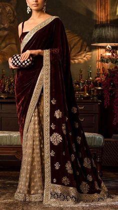 Maroon velvet designer saree Indian sari, half and half wine.- Maroon velvet designer saree Indian sari half and half wine Etsy - Pakistani Dresses, Indian Sarees, Indian Dresses, Sabyasachi Sarees, Lehenga Choli, Bridal Lehenga, Silk Sarees, Indian Wedding Outfits, Indian Outfits