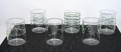 """Deco Green Art Glasses s 6 Ichendorf Milano - Lead free crystal glassware from one of Italy's finest glass producers, Ichendorf Milano. The Deco Glass series features exterior decoration in clear, green, blue or red. 2.75""""Dia x 3""""H"""