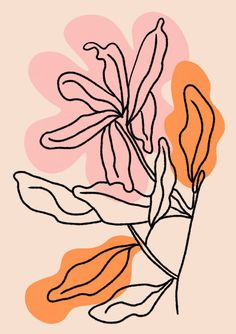 Floral line art PRINT Flower Line Art Blush Pink Wall Art One Line Flower Botanical Flower Print Pink Watercolour Print Framed print Illustration Inspiration, Art And Illustration, Floral Illustrations, Art Mural Rose, Label Art, Posca Art, Pink Wall Art, Pink Art, Botanical Flowers