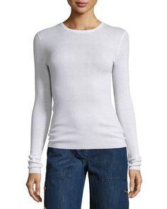 MICHAEL KORS LONG-SLEEVE CASHMERE SWEATER, WHITE. #michaelkors #cloth #