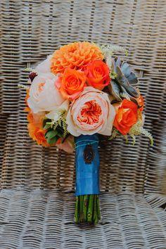 wedding flowers orang blue