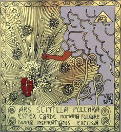 The vision of magical ornamentalism (my artwork; the silkscreen on gold foil) / Vize magického ornamentalismu (má výtvarná práce; sítotisk na zlatou fólii)