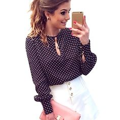 Long Sleeve Slit Open Women Blouse Chiffon Hollow Sexy Casual Shirt Plus Size Women Tops Blusas bluse Polka Dots Shirt Top #Affiliate
