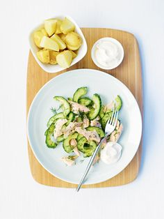 Hot-smoked trout with cucumber and dill salad recipe. This casual fish supper is great if you fancy something light, fresh and easy to throw together. Dill Salad Recipe, Cucumber Dill Salad, Smoked Trout Salad, Smoked Fish, Healthy Salad Recipes, Lunch Recipes, Cooking Recipes, Fish Supper, Trout Recipes