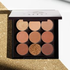 Makeup Geek Travel Vault Palette featuring a glittering display of existing and coming-soon neutral eyeshadows.