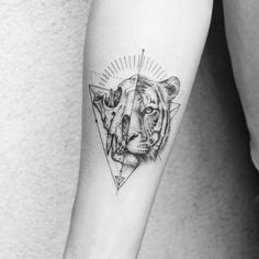 Tiger skull/head ink by Cute Tattoos, Body Art Tattoos, Small Tattoos, Tatoos, Tiger Tattoo Meaning, Geometric Tiger, Tiger Skull, Power Tattoo, Christmas Tattoo