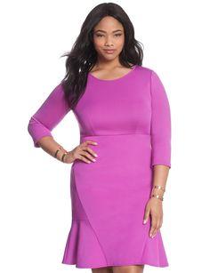 Side Ruffle Hem Dress Deep Pink