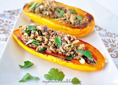 Delicata Squash Stuffed with Quinoa and Mushrooms.  This is so yummy!  Vegan and gluten free.
