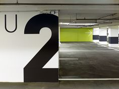 Guiding system underground car park Hochhaus am Park, Frankfurt am Main Parking Signs, Garage Signs, Parking Lot, Car Parking, Car Park Design, Inspiration Wand, Park Signage, Parking Building, Wayfinding Signs
