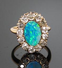 Antique 14k 4.90ct Solid Black Opal Diamond Ring in Jewelry & Watches, Fine Jewelry, Fine Rings | eBay